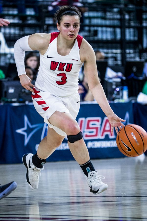 WKU Guard Sidnee Bopp (3) drives the ball during the Lady Toppers 77-61 win in the semifinal game of the Conference USA tournament against University of North Texas on Friday March 9, 2018 at The Star in Frisco, Tx.