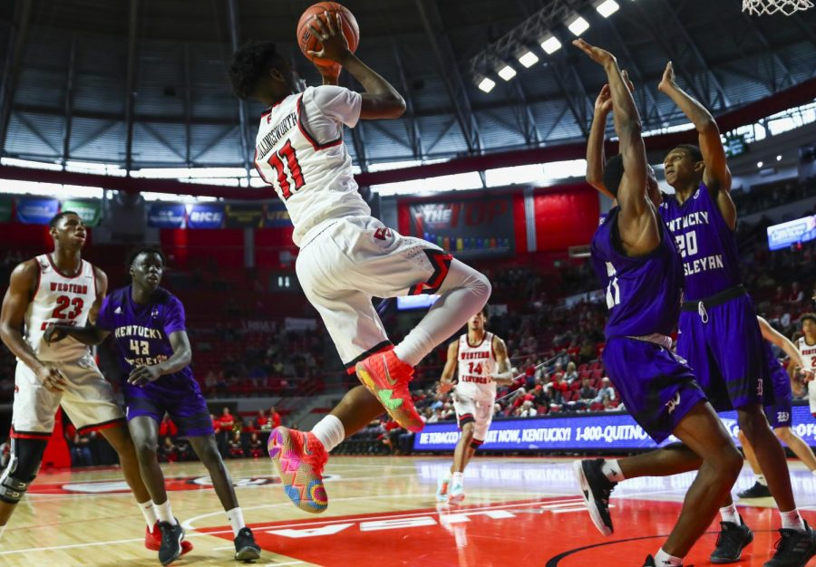 Taveion+Hollingsworth+shoots+a+jumper+in+WKU%27s+96-71+win+over+Kentucky+Wesleyan.+Hollingsworth+scored+24+points+and+recorded+10+rebounds.%C2%A0