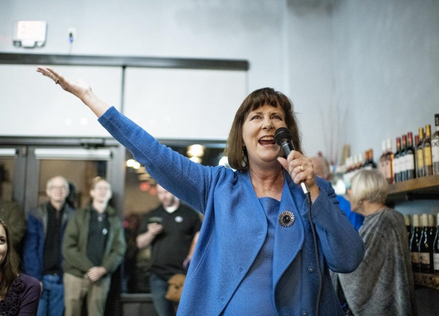 Patti Minter gives a victory speech following her win as State Representative in the 2018 midterms on Tuesday Nov 6.