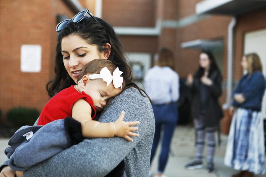 Kaitlyn Carey of Bowling Green KY and her daughter finished voting at the W.R. McNeill elementary school during the midterm election on Tuesday Nov. 6,