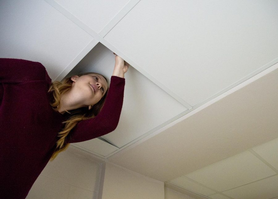 Lily+peers+into+her+ceiling+to+check+for+mold+a+day+before+she+is+to+be+moved+from+her+dorm.+Lily+says+she%E2%80%99s+been+%E2%80%9Cscared+to+check+for+mold+until+I+new+I+wouldn%27t+have+live+in+the+dorm%E2%80%9D.+When+Lily+checked+her+room+she+discovered+areas+of+mold+growing+in+her+ceiling.