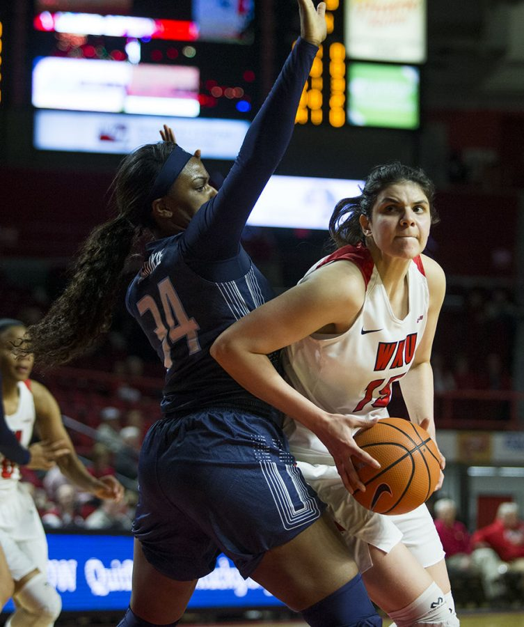 WKU forward Raneem Elgedawy (15) drives to the hoop attempting to score during WKUs game vs. Old Dominion in E.A. Diddle Arena on Feb. WKU defeated Old Dominion 62- 48.
