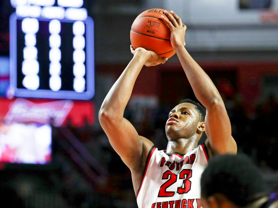 WKU+freshman+guard+Charles+Bassey+%2823%29+shoots+a+free-throw+during+an+exhibition+match+vs+Kentucky+Wesleyan+in+E.A.+Diddle+Arena+on+Saturday%2C+Nov.+3.