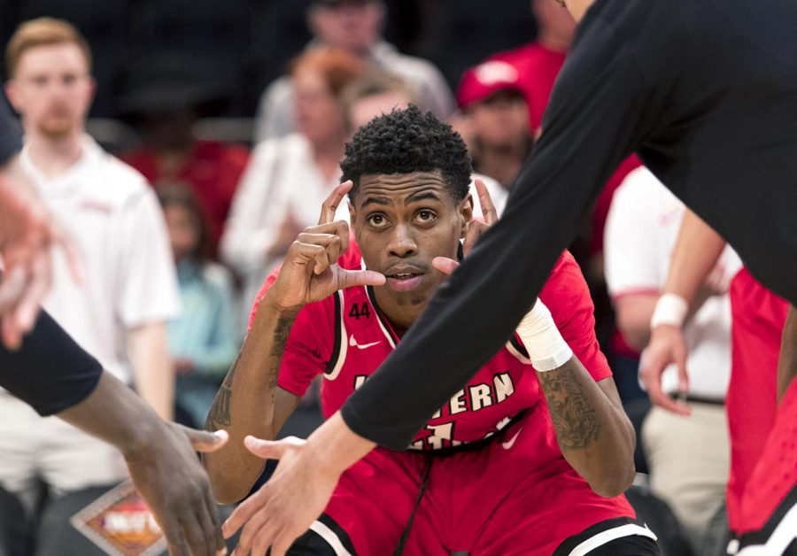 WKU+guard+Lamonte+Bearden+is+introduced+before+the+NIT+semifinals+at+Madison+Square+Garden+on+March+27.+The+redshirt+junior+tallied+12+points+in+the+69-64+loss+to+Utah.