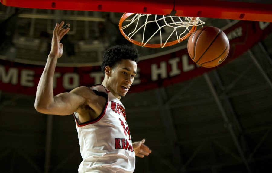 WKU forward Marek Nelson finishes a dunk in the Hilltoppers' 100-86 victory over Nicholls State on Sunday