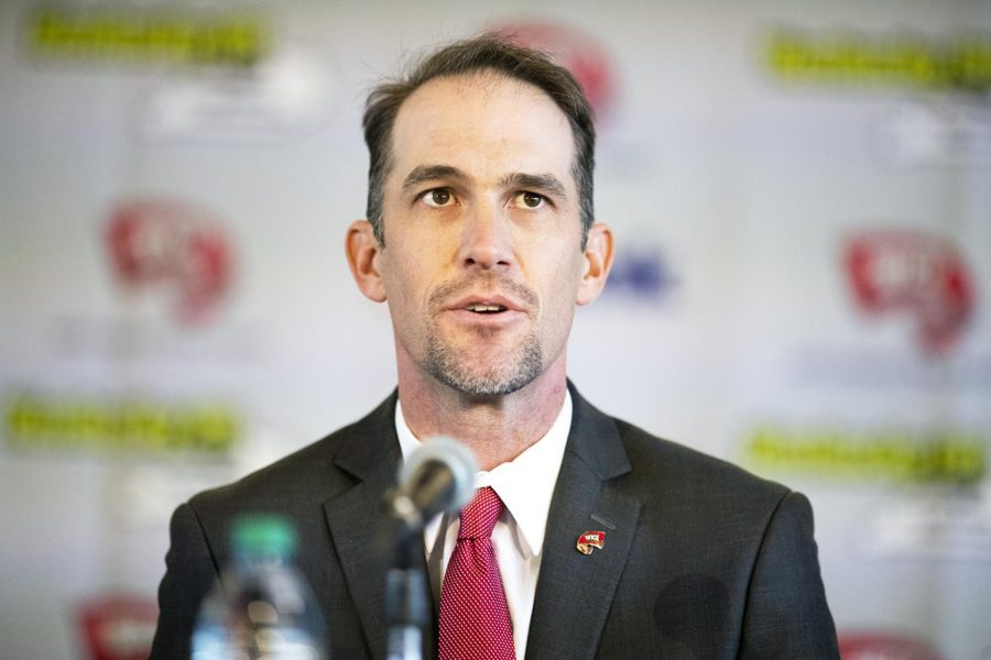 WKU's new head coach Tyson Helton speaks during coach his press conference as the new head coach of the Hilltoppers at the Harbaugh Club in Houchens-Smith Stadium Nov. 27 in Bowling Green.
