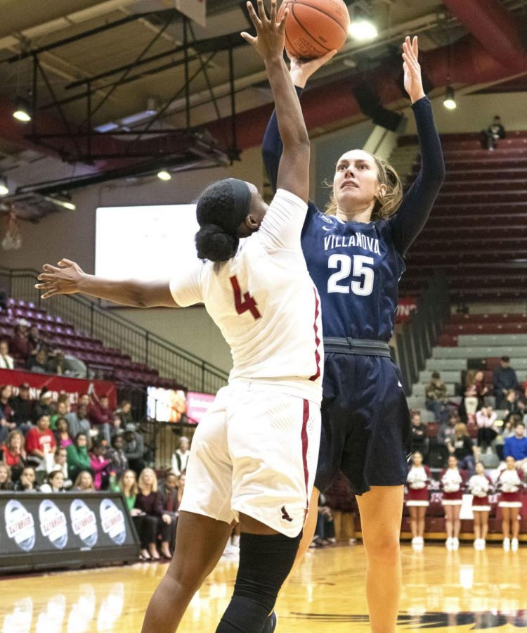 Kelly Jekot, right, was named the Big 5 Rookie of the Year and Big 5 Most Improved Player in consecutive years. Now a junior, the former Cumberland Valley star is hoping to lead the Wildcats back to the NCAA Tournament.