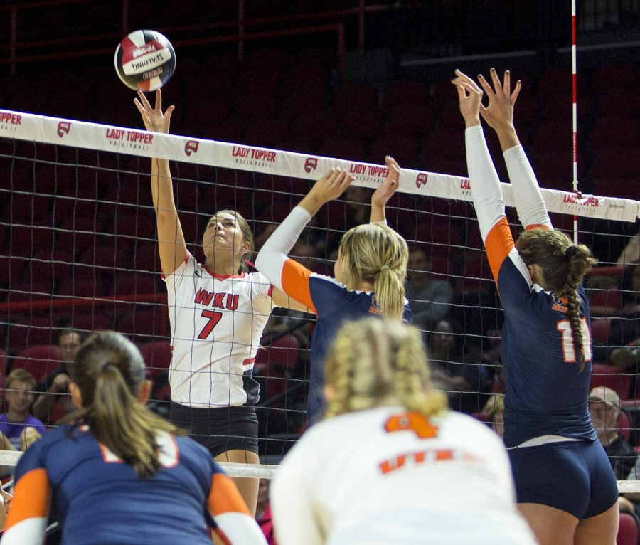 Outside hitter Alyssa Cavanaugh (7), spikes the ball against UTEP earning a point for the Lady Toppers on Fri. Oct. 20, 2017 at Diddle Arena.