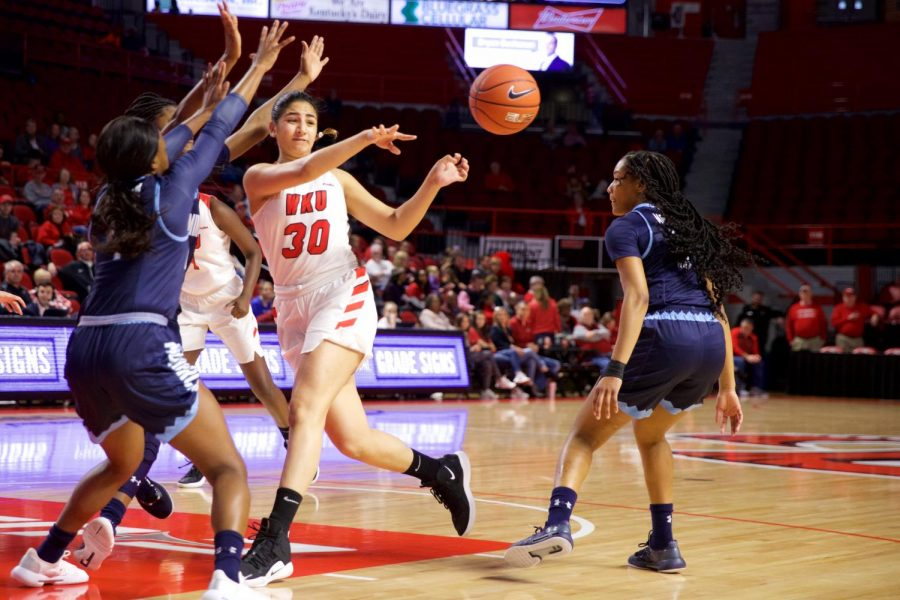Freshman+guard+Meral+Abdelgawad+makes+a+pass+during+the+Lady+Toppers+win+over+Old+Dominion+on+Saturday.