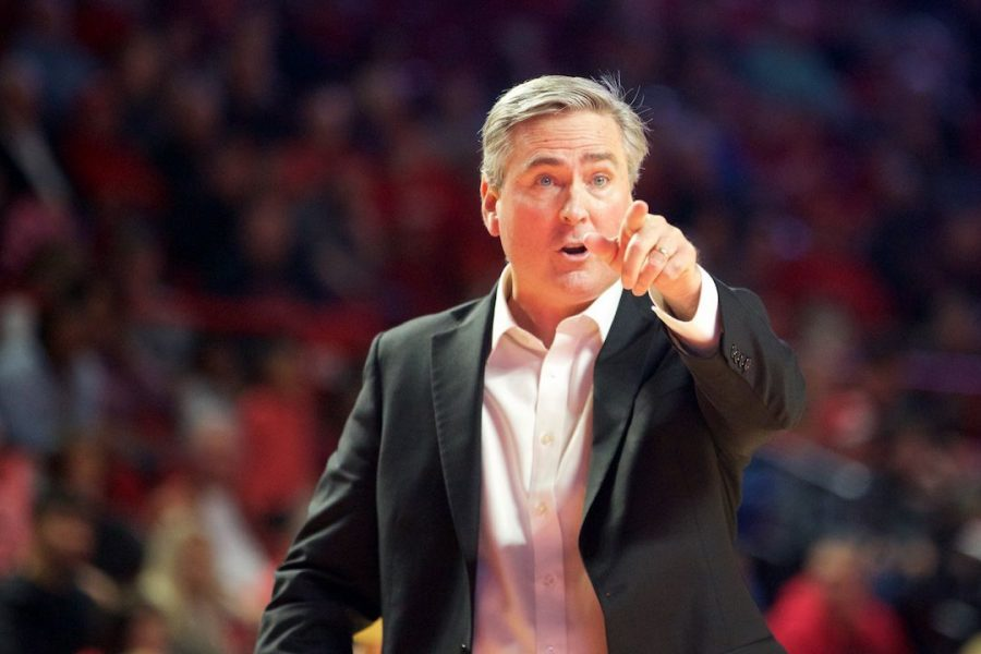 Rick Stansbury gives his team directions during WKU's 72-66 win over Florida Atlantic Saturday in Diddle Arena. The win helped WKU to improve to 9-9 on the year.