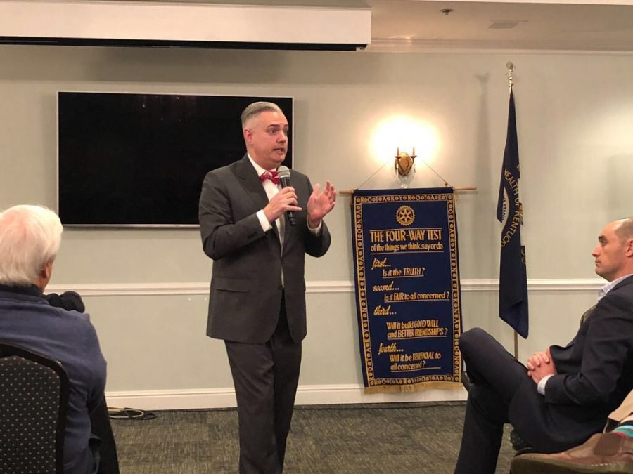 WKU President Timothy Caboni addressed the Bowling Green rotary club and discussed off-campus facilities.