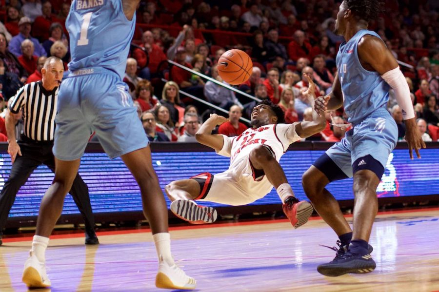 Sophomore guard Taveion Hollingsworth hits the deck during WKU's loss to Florida International Thursday in Diddle Arena. Hollingsworth had 14 points in the loss.