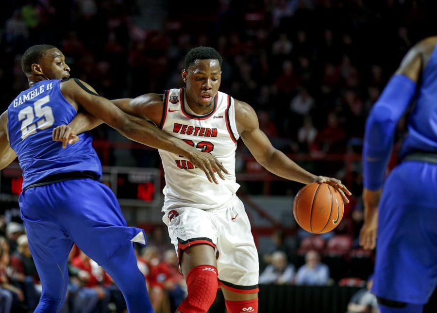 Freshman+center%2C+Charles+Bassey+makes+his+way+down+the+court+during+WKU%27s+game+against+MTSU+on+Feb.+14.
