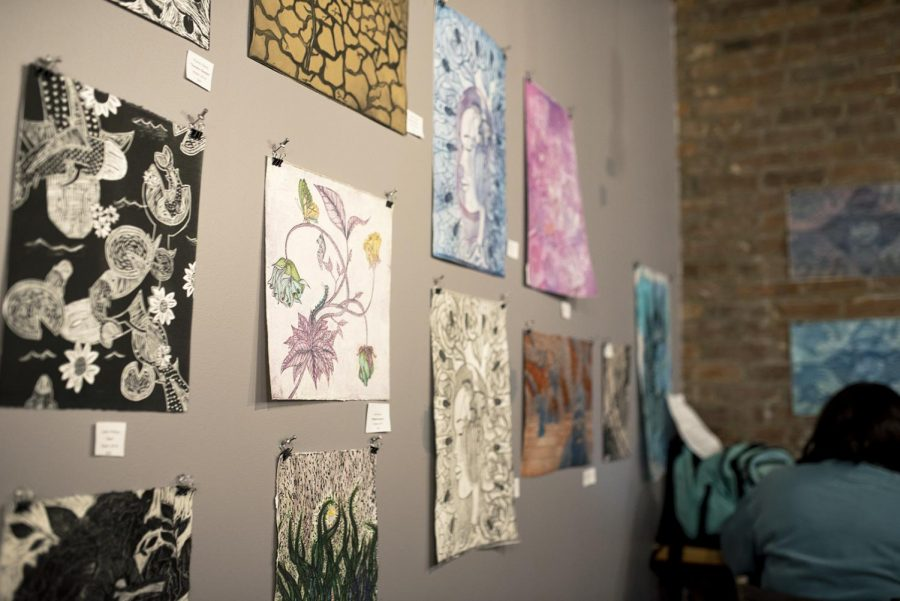 Spencer's Coffee hosts the WKU Printmaking Club showcase of completed artwork on Feb. 2, 2019. Each piece is for sale and will be on display until March.
