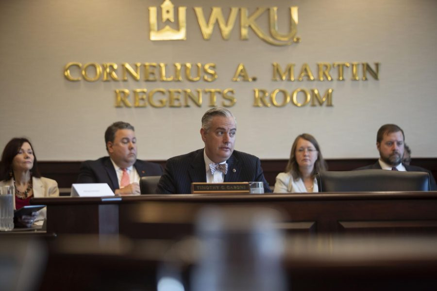 President Timothy Caboni speaks on the university's 2018-2028 strategic plan, which was unanimously approved by the Board of Regents during its meeting on Friday.