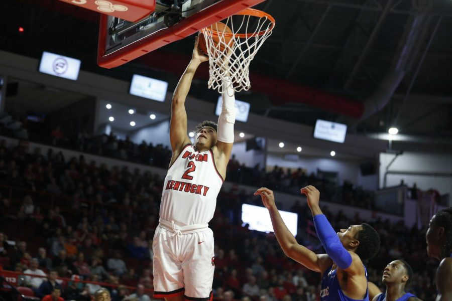Redshirt+junior+guard+Jared+Savage+%282%29+shoots+a+shot+during+WKU%27s+71-63+win+over+Middle+Tennessee+State+on+Thursday%2C+Feb+14+at+Diddle+Arena.