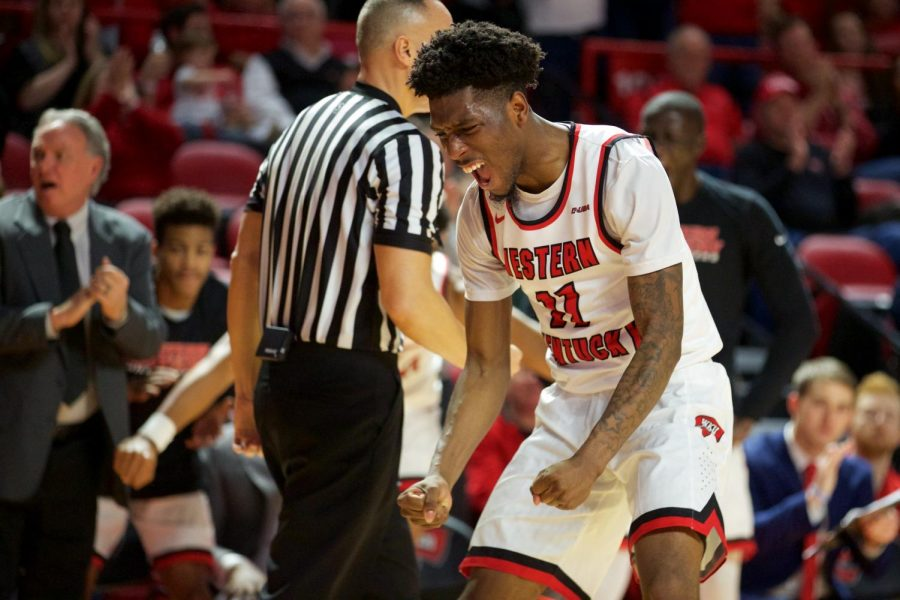 Taveion Hollingsworth celebrates during the Hilltoppers' 72-66 victory over Florida Atlantic on Saturday at Diddle Arena.
