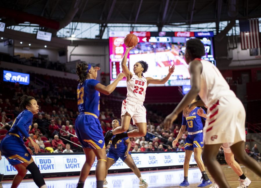 WKU+guard+Sherry+Porter+attempts+a+floater+in+the+lane+during+WKU%27s+win+over+Morehead+State+in+the+second+round+of+the+WNIT.%C2%A0