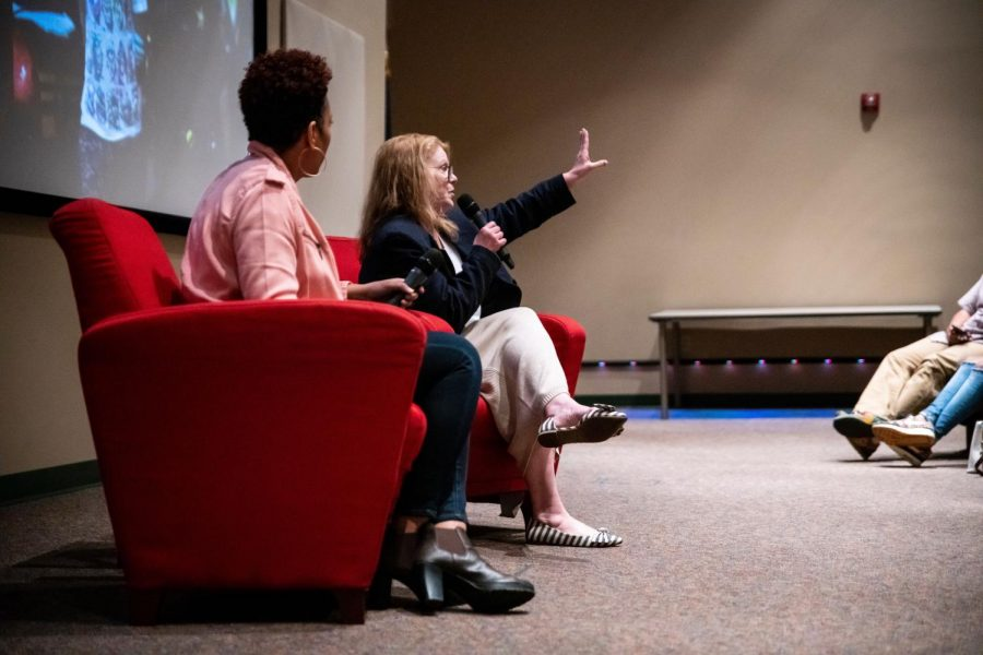 Cara Owsley, left, and Amy Wilson, right, from the Cincinnati Inquirer discuss their Pulitzer Prize winning project Seven Days of Heroin to students in the Jody Richards Hall Auditorium on March 20, 2019. Owsley was a photojournalist and Wilson was the story telling coach for the project.