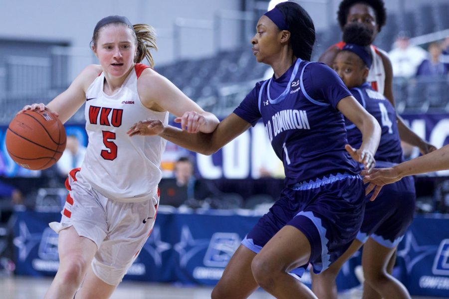 Junior guard Whitney Creech drives the lane during the Lady Toppers' 74-60 win over Old Dominion in the quarterfinals of the Conference USA tournament in Frisco, Texas.