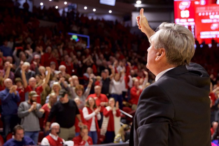 WKU+head+coach+Rick+Stansbury+gives+a+thumbs+up+to+a+loud+cheering+crowd+after+defeating+15th-ranked+Wisconsin+83-76+in+Diddle+Arena+Dec.+29+in+Bowling+Green.+Stansbury+had+coached+WKU+to+wins+over+three+Power+5+teams+this+year.%C2%A0