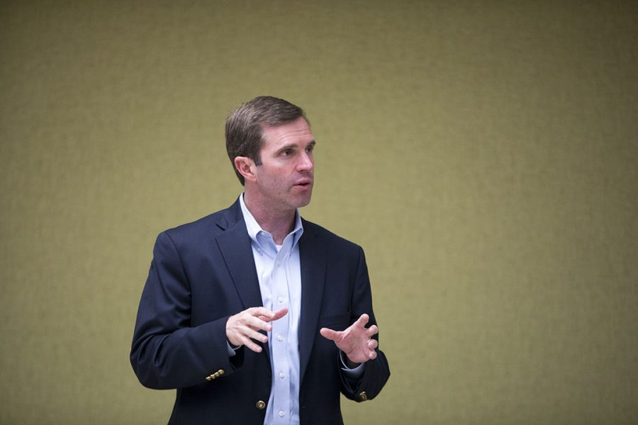 Attorney General, Andy Beshear, speaks to the Bowling Green community at the Bowling Green Municipal Utilities hosted by the Warren County Kentucky Democratic Party on Monday.