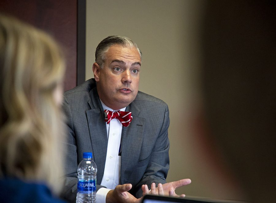 President Timothy Caboni talks to the College Heights Herald editorial board to discuss the upcoming year on Friday, Aug. 24.