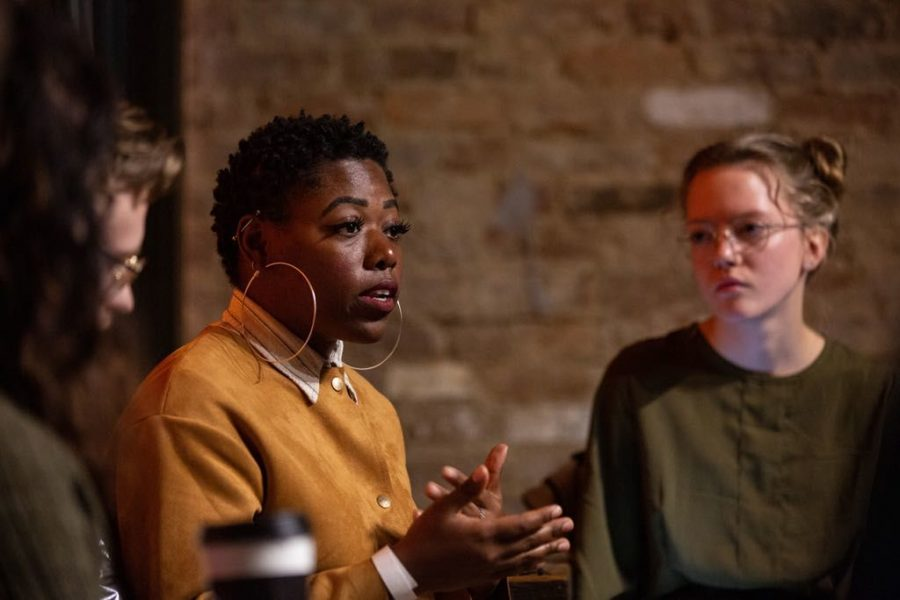 Tiye Gardner shares her experience in combining social justice issues with her passion to fashion during the Coffee Talk: Youth Got The Power at Spencer's Coffee on Tuesday, March 12.