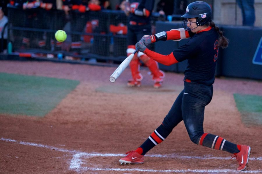 Senior outfielder Shannon Plese launches a home run during the the Hilltoppers win over Indiana State in the WKU Softball Complex on Monday.