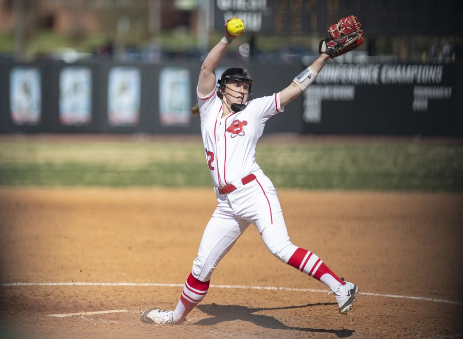 Junior Pitcher Kelsey Aikey pitches during WKUs game against Charlotte at the WKU Softball Complex beginning March 23 in Bowling Green. Aikey was just named Conference USA Pitcher of the Week