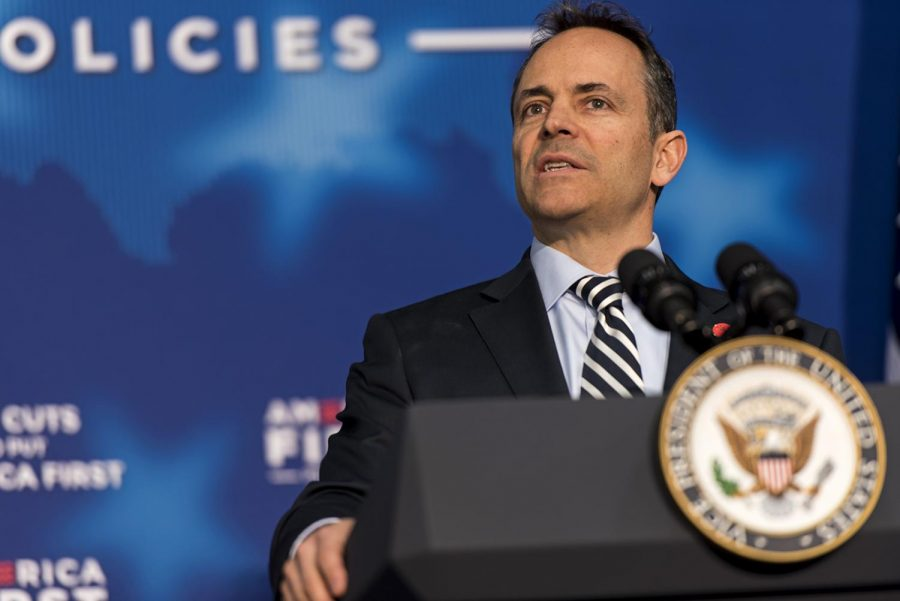 Gov.+Matt+Bevin+introduces+Vice+President+Mike+Pence.+%22He+was+a+man+that+was+supportive+of+me+because+we+shared+certain+core+values%2C%22+Bevin+said+about+Pence%2C+%22Things+that+we+believe+the+principles+of+America+were+founded+upon.%22