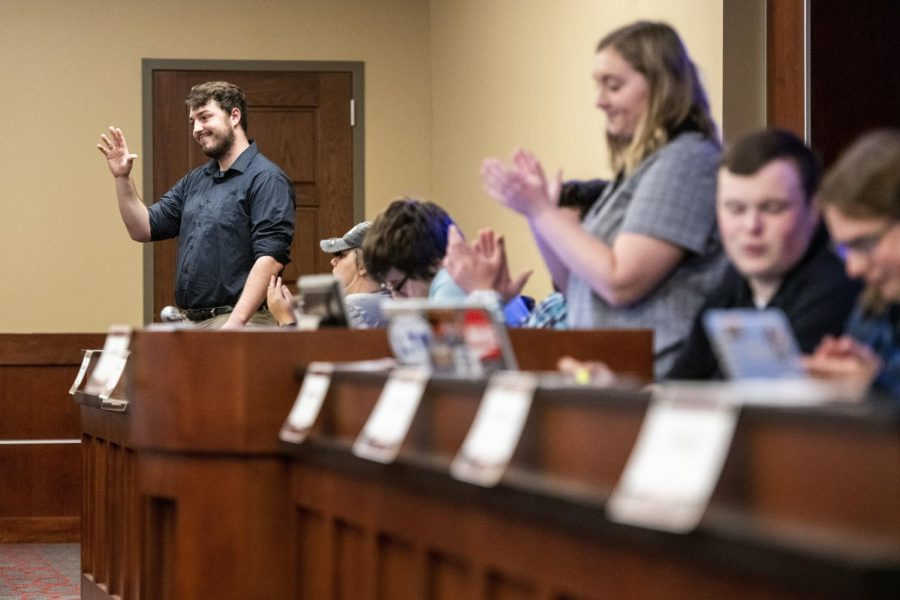 Isaac Keller gets sworn in as Chief Justice during a Student Government Association meeting in Downing Student Union on April 9, 2019.