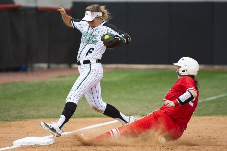 North+Texas+third+baseman+Lacy+Gregory+%286%29+tags+the+plate+before+WKU+catcher+Kendall+Smith+%282%29+can+reach+it.+Smith+scored+a+career+high+4+RBI%27s+in+the+8-0+victory+against+North+Texas+on+Sunday.+CHRIS+KOHLEY%2FHERALD