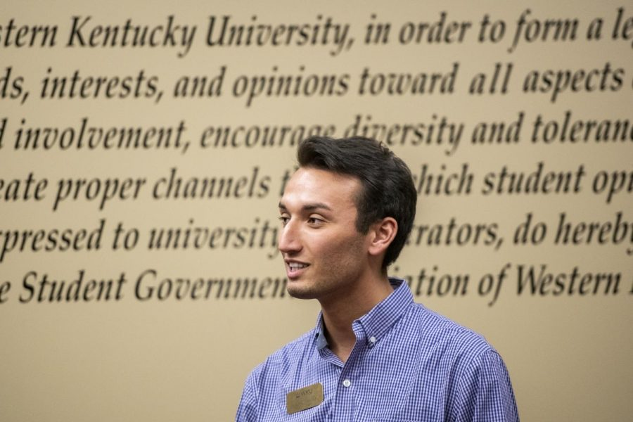 Student body president Stephen Mayer addresses the Student Government Association during a meeting in Downing Student Union on April 16, 2019.