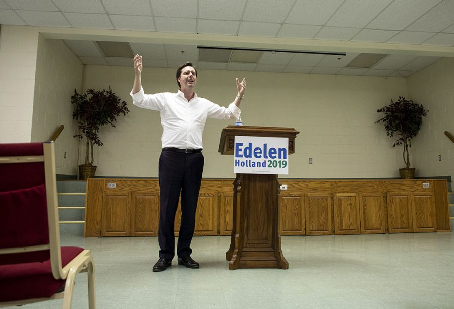 Democratic+candidate+Adam+Edelen%2C+visits+Bowling+Green+to+speak+in+front+of+the+community+at+State+Street+Baptist+Church+on+Tue.+April+9%2C+2019.
