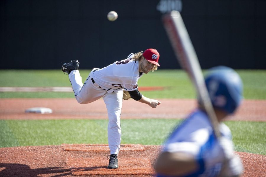 WKU+pitcher+Reece+Calvert+pitches+during+the+third+game+against+University+of+Memphis+at+Nick+Denes+Field+on+March+10.+WKU+lost+the+game+with+a+score+of+4-10.