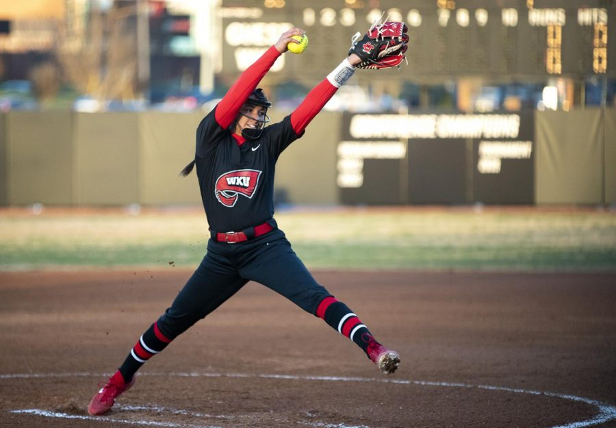 WKU freshman Kennedy Sullivan throws a pitch during WKU's 9-7 win against Indiana State at the Softball Complex on Monday, Feb. 25, 2019.