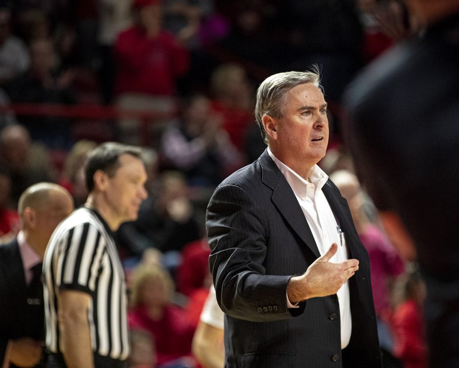 WKU basketball coach Rick Stansbury leads the team to victory during the game against UTSA. WKU men's basketball defeats UTSA with a score of 96-88.