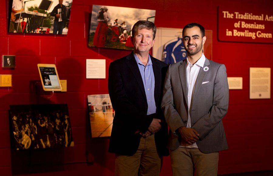 """Brent Björkman (left), director of the Kentucky Museum and Kentucky Folklife Program, and Denis Hodžić, a Bosnian-American graduate student at WKU, collaborated closely to create an oral storytelling projectand exhibition. The two began working on the exhibit in 2015. """"It is so multifaceted. This exhibit is just a small glimpse of what it is like to bea Bosnian American. Refugee is not our full story,"""" Hodžić said."""