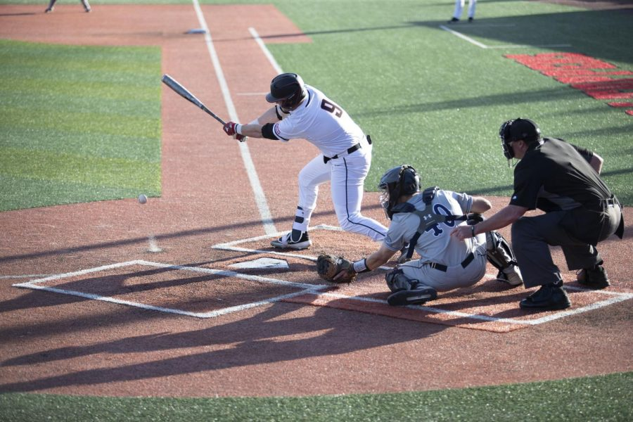 Junior infielder Jack Wilson takes a swing during the Hilltoppers' 8-7 win over Belmont on Tuesday in Nick Denes Field.