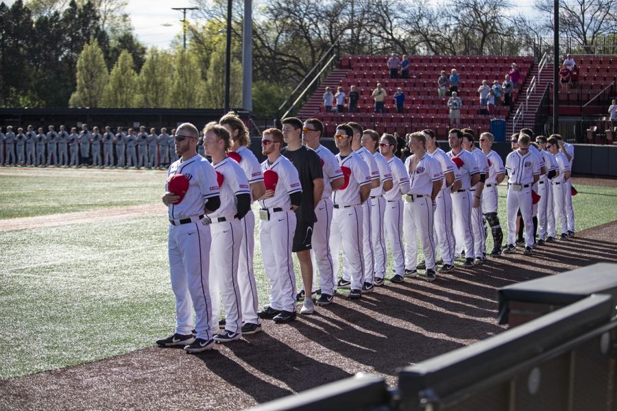 WKU Hilltoppers stand for the national anthem before the Belmont versus Hilltoppers Game on April 9, 2019 at Nick Denes Field. WKU won the game with a score of 8-7.