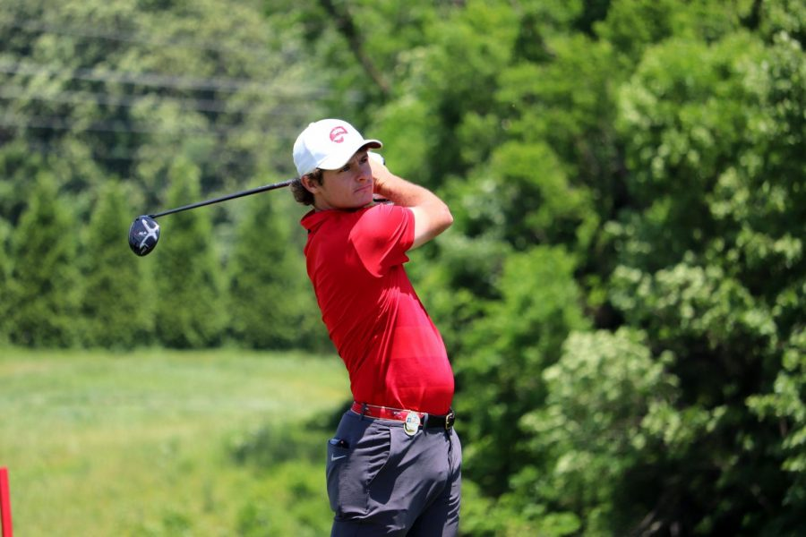 Redshirt senior men's golfer Billy Tom Sargent takes a swing during the final round of the NCAA Division I Men's Golf Championships inFayetteville, Arkansas onMay 28, 2019.