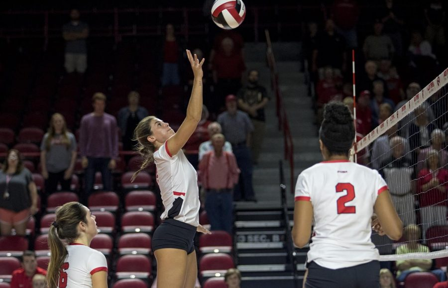 Senior outside hitter Alyssa Cavanaugh hits the ball during WKUs game against LA Tech Sept. 29 at Diddle Arena. Cavanaugh earned her fifth career C-USA Offensive Player of the Week award on Monday after WKU extended its 30th straight conference win last week.