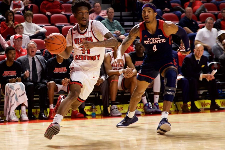 Sophomore+guard+Taveion+Hollingsworth+drives+the+baseline+during+WKU%27s+72-66+win+over+Florida+Atlantic+Saturday+in+Diddle+Arena.+Hollingsworth+had+a+team-high+24+points+in+the+win.%C2%A0