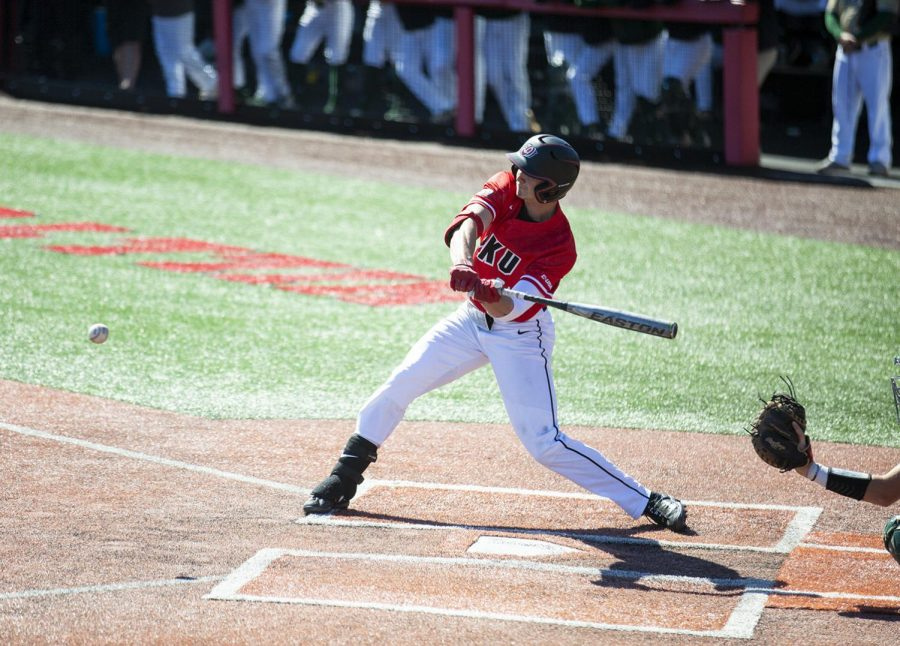Junior, first baseman Jake Sanford hits the ball during WKU's game against UAB on March 16. Sanford was just named C-USA Hitter of the Week.