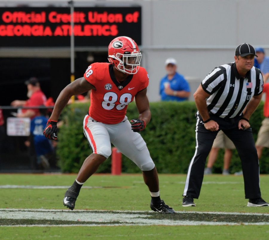Georgia linebacker Jaden Hunter (88) during the Bulldogs' game against the Middle Tennessee Blue Raiders at Sanford Stadium on Saturday, Sept. 15, 2018 in Athens, Ga. (Photo by John Kelley/UGA)