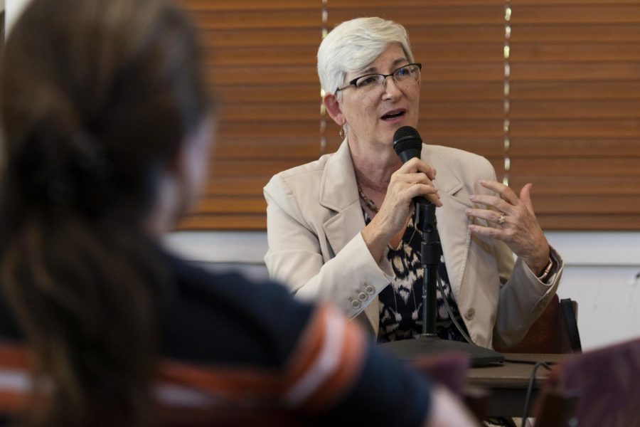 Provost Cheryl Stevens fields questions fromfaculty members during the faculty senate meeting on Aug. 29, 2019. The provost discussed reallocation of money in the senate budget, representation of minority student populations and a state orchestrated program evaluation.