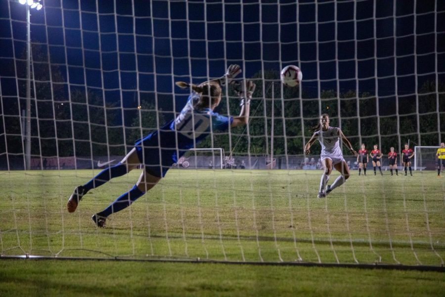 Chandler Backes attempts a penalty kick during a shootout after an exhibition match on Sunday night. The WKU soccer team defeated Austin Peay 3-0.