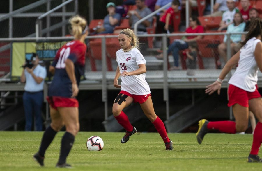 Ansley Cate (20) brings the ball upfieldduring a match against Belmont at the WKU Soccer Complex on Thursday, Aug 22, 2019. The WKU soccer team defeated Belmont in its season opener, 5-0.