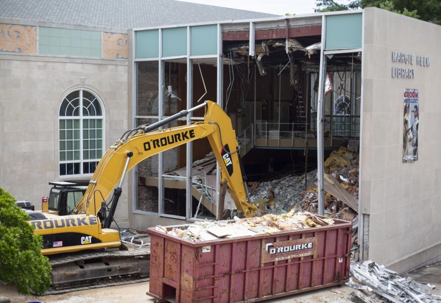 Construction crews begin to work on renovations to Helm Library by FAC on Monday, Aug. 12, 2019.